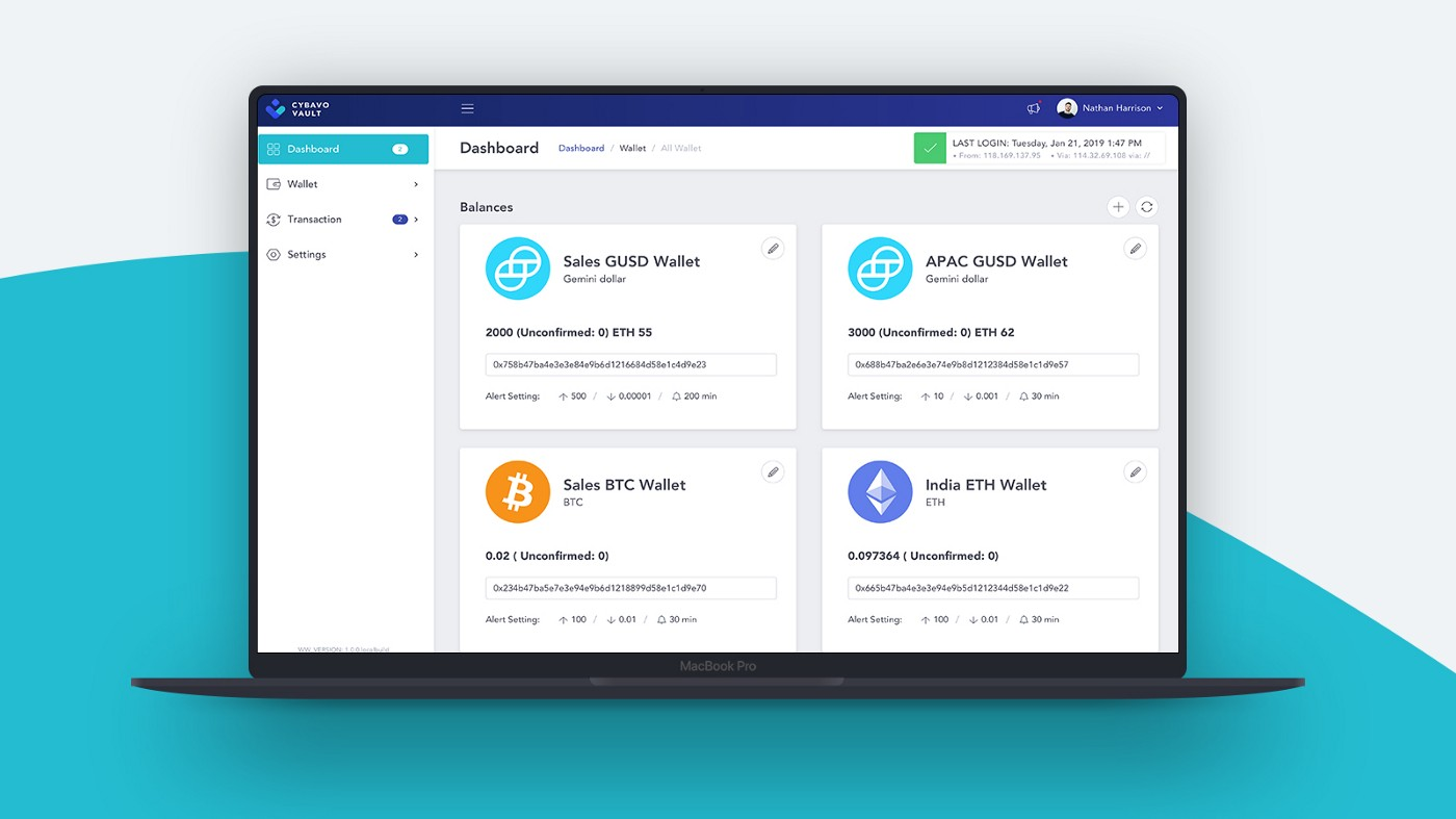 CYBAVO VAULT offers multicurrency enterprise wallet
